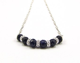 Natural Blue Sapphire & Sterling Silver Micro Necklace - N706
