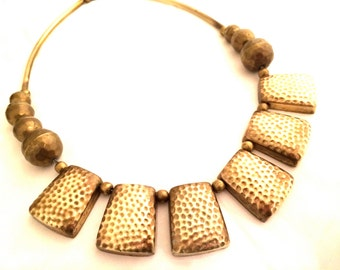 BRASS Ethnic Necklace Sophisticate Fringed Beaded Bib Hammered Modernist tubes Authentic Vintage Jewelry