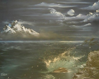 """Original OOAK Hand-painted Oil Painting """"Bewitching Moon"""" Seascape on 16 x 20 Canvas"""