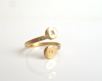 Personalized Initial Ring - adjustable gold brass spiral wrap style band - hand stamped letter / number you choose - simple minimalist ring