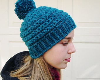 Teal Pom pom hat, Winter Fashion 2016, cozy hat, Teal Fashion hat, trends fashion hat, warm hat