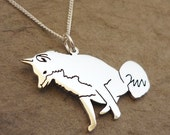 Sterling Silver Foxy Pendant on chain - handmade