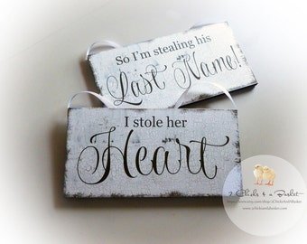 I Stole Her Heart & So I'm Stealing His Last Name Sign Set, Engagement Photo Props, Wedding Signs