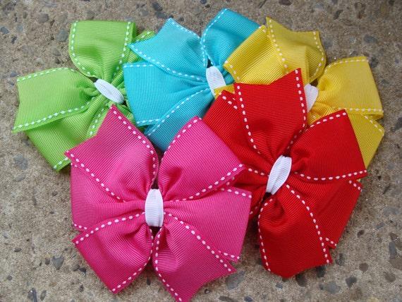 5 Large 4 inch Pinwheel Hair Bow Hair Clip Set to match a dress.