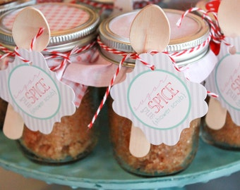 INSTANT DOWNLOAD - Sugar and Spice Baby Shower Printable Shower Scrub Favor Tags - Petite Party Studio