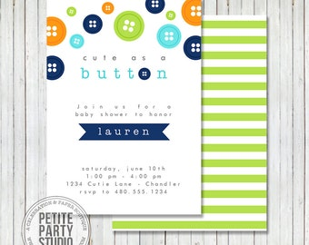 Cute as a Button Birthday or Baby Shower Printable Party Invite - Petite Party Studio