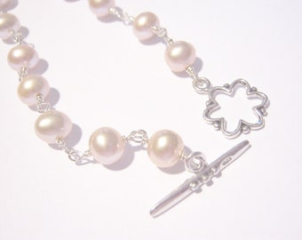 Pink Freshwater Pearl Bracelet and Earring Set, Sterling Silver Bridesmaid Bracelet, Gift for Mom