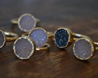 DAINTY DRUZY /// Stackable Druzy Gold Electroformed Ring