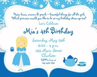 Tea Party Birthday Invitation -- Cupcake party -  princess tea - dress up tea party birthday