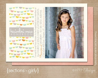 """LDS Baptism Photo Invitation (Digital or Printed)- """"sections - girly"""""""