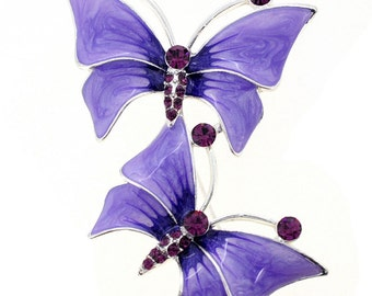 Two Purple Butterfly Couple Crystal Pin Brooch 1002352