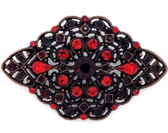 Vintage Style Red Crystal Flower Pin Brooch 1003621