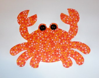 Iron On Fabric Applique Orange Dotted Speckle CRAB