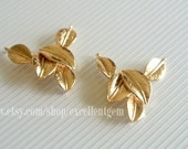 4p- 14k Gold-plated over brass leaves connectors,Necklace Pendants,High quality finding,jewelry making HSBR-1007