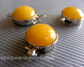 2pcs-Silver plated brass with Yellow jade clasp-18mm