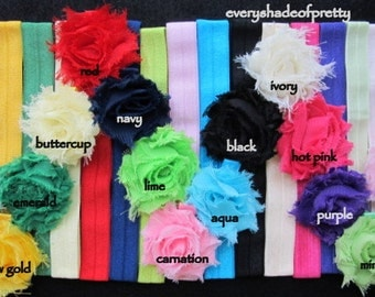 1.5 inch Shabby flowers with Elastic HEADBANDS- girls headbands--baby headbands--You Choose your Color and Size