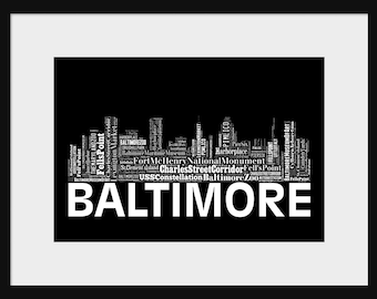Baltimore Skyline Word Art Typography Print Poster Map Black and White