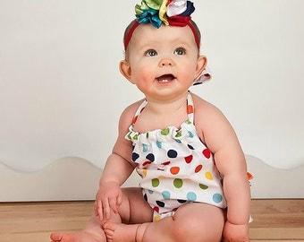 Baby Girl Chevron Romper, Baby Sunsuit, Rainbow Romper, Ruffle Romper, Toddler Girl Easter Boutique