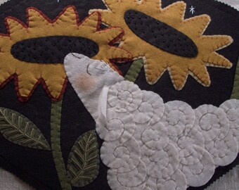 The Sheep is in the Sunflowers Table Mat FINISHED PIECE by cheswickcompany