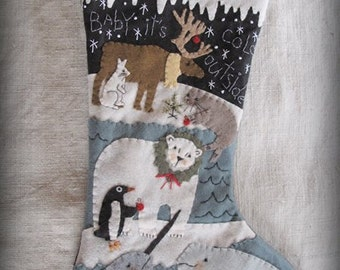 Arctic Friends Christmas Stocking PRINTED PATTERN by cheswickcompany