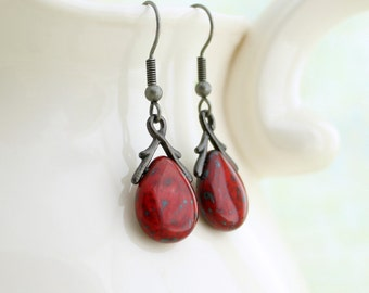 Red Drop Earrings - teardrop Czech glass beads with gunmetal bails - Red and Black jewelry - Valentine earrings