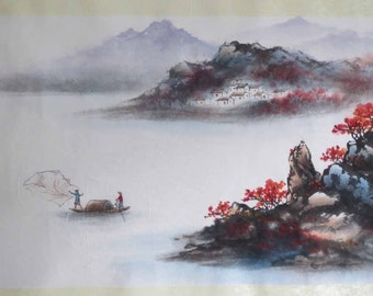 Original Chinese painting-Natural Scenery(Island and Fishermen in Autumn)