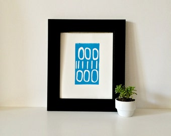 Hand Pulled Linocut Light Blue or turquoise Mid Century Modern Decor art poster 8 x 10