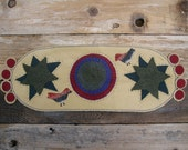Traditional Wool Penny Rug Table Runner with Birds, Circles and Stars