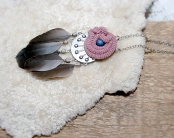 Long Tribal Medallion Necklace, Crochet Crescent Feathers Pendant