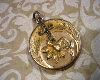 Antique Victorian Nouveau Repousse Mourning Locket with Paste Stone CROSS and Lily