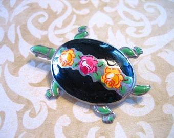 Vintage Enamel TURTLE Brooch Pin