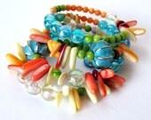 SEAPUNK wrap memory wire bracelet unique jewelry seapunk shell bracelet beaded memory wire bracelet