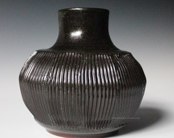 Faceted Ceramic Jar Vase Brown with Green Flecks Flowers Asian Inspired