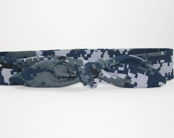 NWU Navy Adult Headband with Tie Hairbow Military Blue Digital Camo