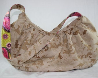 MARPAT USMC Hobo Bag Purse with Paisley Military Digital Camo