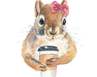 11x14 Squirrel Watercolor PRINT - Coffee Squirrel, Girl Squirrel, Kitchen Art