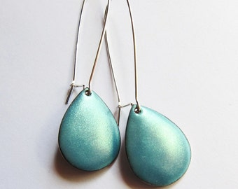 Turquoise teardrop dangle earrings Minimalist jewelry Long kidney wires Aqua metallic drop earrings
