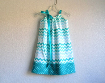 Girls Chevron Stripe Pillowcase Dress - Teal, Aqua, Blue & White Chevron Stripes - Girls Sun Dress - Size 12m, 18m, 2T, 3T, 4, 5, 6, 8 or 10