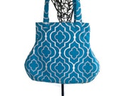 Turquoise Blue Geometric Fabric Handbag Purse