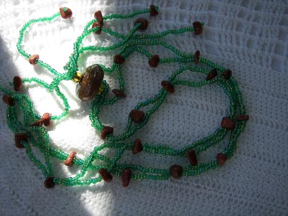 Unique Goldstone Venetian GLASS bead Tassel Necklace Earth Tones Hypoallergenic / Mother's Day Gift