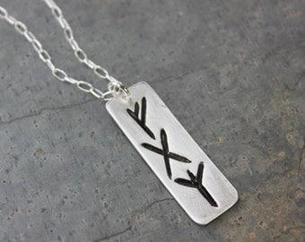 Three Runes rectangle charm necklace- Handmade Elder Futhark Rune- personalized runic symbols, initials- Viking- Monogram- free shipping USA