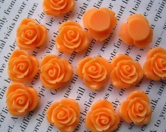 Orange  Resin Flower Cabochon 15 mm