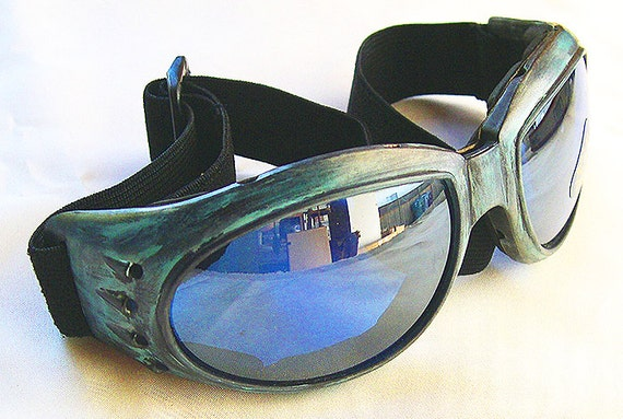 STEAMPUNK GOGGLES - Distressed Antique-Patina Green Cyber Rave Motorcyle Goggles _ Burning Man Goggles