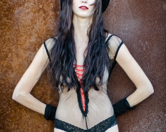 Vtg SEXY LaceUp FISHNET Burlesque Lingerie Boudoir Bodysuit OS Nylon Mesh Plus Size Pin Up Punk Goth Gift for Lover Onesie Dance Rave