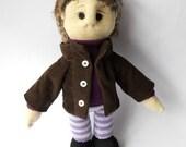 soft sculpture boyfriend doll, art doll young dressed man human figure, sock sculpture