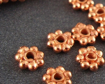 Solid Copper Bali Style Heishi Daisy Spacer Beads, Lead Free, 5mm - 100 Pieces