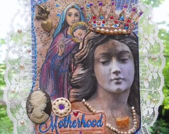Motherhood Original Collage Art old pearls, vintage button, heart locket old lace