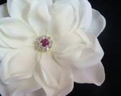 Petite Light Ivory Flower Hair Clip with FUSCHIA Hot Pink Rhinestone Centerpiece / bridal ivory hair flower fuschia flower