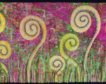 Handmade Art Quilt - Fiddleheads