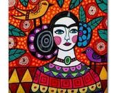 65% Off- Mexican Folk Art Ceramic Tile Frida Kahlo Orange Red